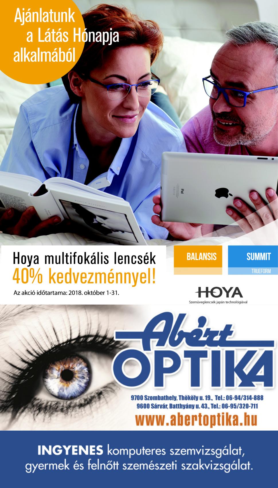 Hoya multifokális lencsék 40% kedvezménnyel! 1c4ee8a705